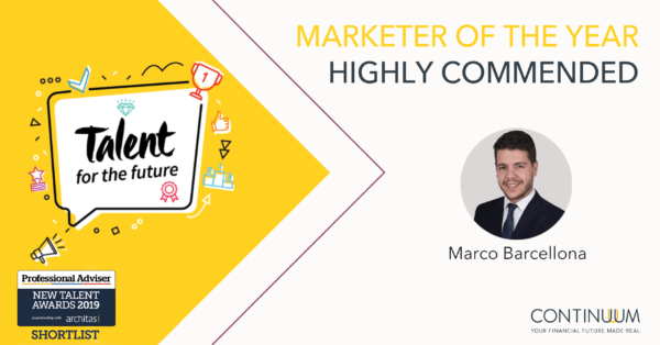 Marco Barcellona - Head of Digital Marketing, Continuum (Financial Services) LLP New Talent Awards, Highly Commended Marketer of the Year 2019